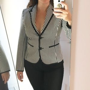 Zara Black and White Striped Blazer